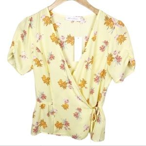 All In Favor Surplice Top Yellow Floral Size S